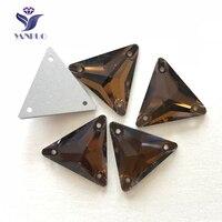 Yanruo #3270 все размеры копченая топаз Треугольники strass Кристаллы плоской задней горный хрусталь пришить Камни для одежды