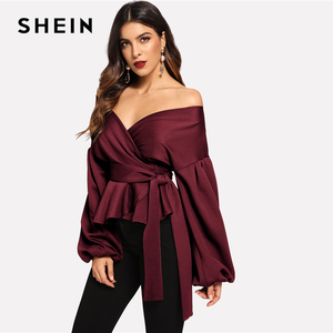 Image 3 - SHEIN Burgundy โคมไฟ Surplice Peplum V เสื้อคอ Modern Lady Bishop เสื้อ \ \ \ \ \ \ \ \ \ \ \ \ \ \ \ \ \ ฤดูใบไม้ผลิ Minimalist Elegant Blouses