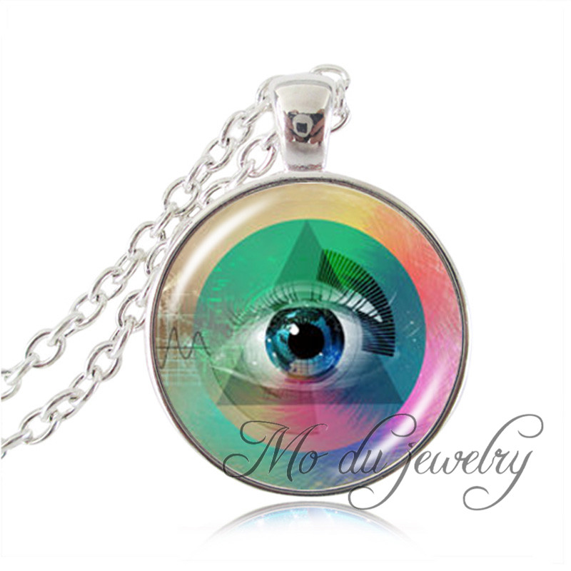 Punk style third eye statement chain necklace human eye pendant punk style third eye statement chain necklace human eye pendant eyeball necklace heat waves jewelry glass dome long necklaces aloadofball Images