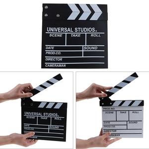 Image 2 - 20*20 cm מנהל וידאו אקריליק עץ יבש למחוק טלוויזיה סרט סרט קלאפר לוח צפחה עם צבע מקלות