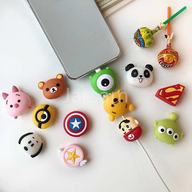 Wholesale Socket Car Phone Holder Cartoon Protector Cable Cord Saver Cover Coque For IPhone 8 Plus 5 SE 5C 6 6S 7 X Xs Max XR