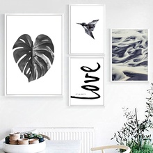 Monstera Leaves Bird Dune Landscape Wall Art Canvas Painting Nordic Posters And Prints Wall Pictures For Living Room Wall Decor cactus coconut leaves quote wall art canvas painting nordic posters and prints landscape wall pictures for living room decor