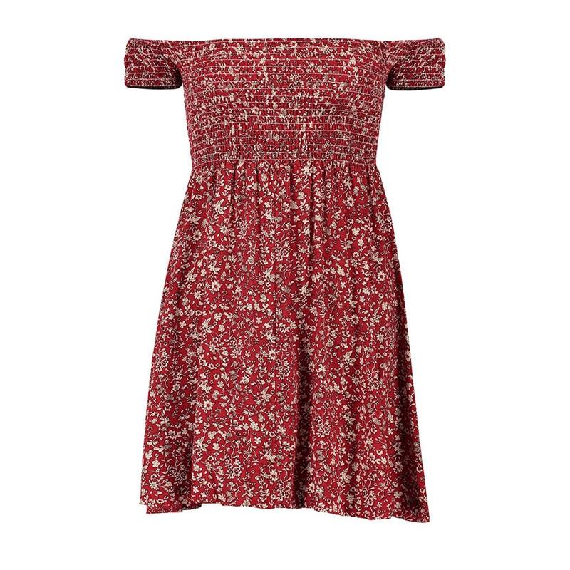 2017 Women Off shoulder beach summer dresses Floral print Vintage maxi dress Big Swing Women mini Short Fit and Flare Work Dress