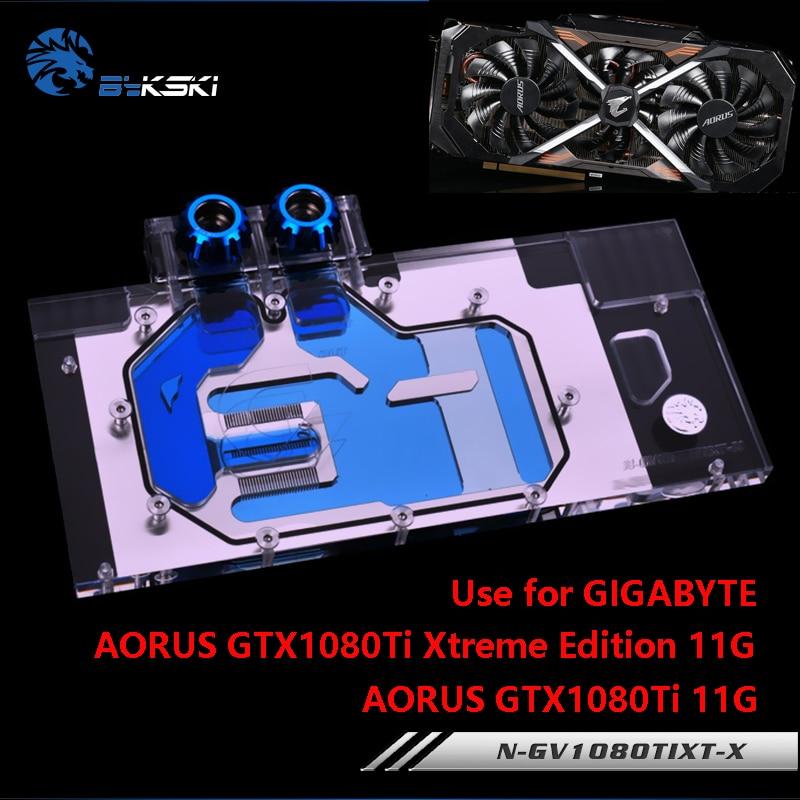 BYKSKI uso de Bloque de agua para GIGABYTE AORUS GTX 1080Ti Xtreme Edition/GV-N108TAORUS-11GD/cubierta completa tarjeta gráfica radiador de cobre