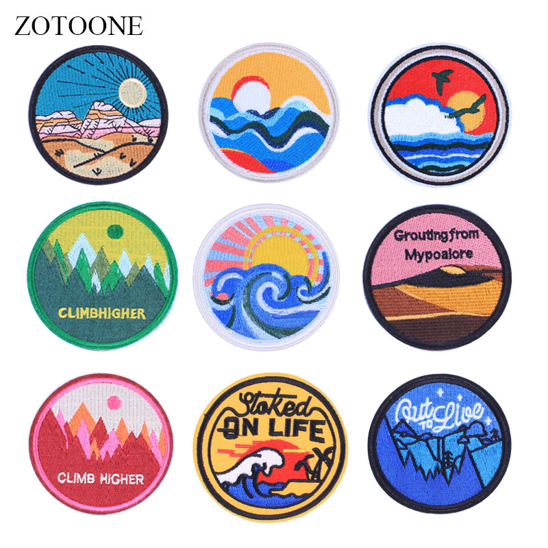 ZOTOONE Round Badge Colorful Patches Stickers Diy Iron on Clothes Heat Transfer Applique Embroidered Applications Cloth Fabric G