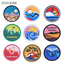 ZOTOONE Round Badge Colorful Patches Stickers Diy Iron on Clothes Heat Transfer Applique Embroidered Applications Cloth Fabric G(China)