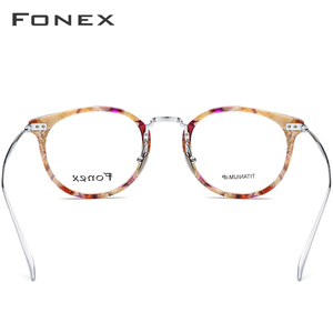 Image 4 - FONEX Pure Titanium Glasses Frame Men Vintage Round Ultralight Eyeglasses Prescription Myopia Optical Women Acetate Eyewear 9132