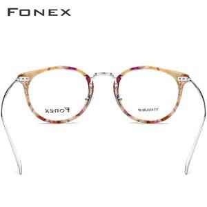 Image 4 - FONEX Reines Titan Brille Rahmen Männer Vintage Runde Ultraleicht Brillen Rezept Myopie Optische Frauen Acetat Brillen 9132
