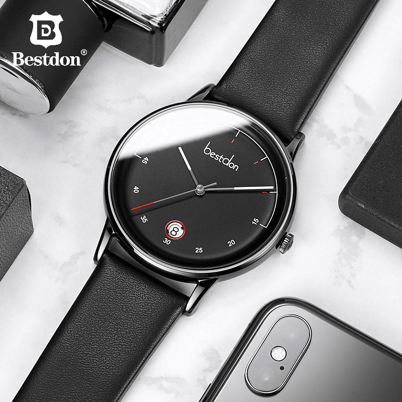Bestdon Mens Watches Top Brand Luxury Fashion Clock Japanese Imports Quartz Wristwatch Waterproof Date Leather Man