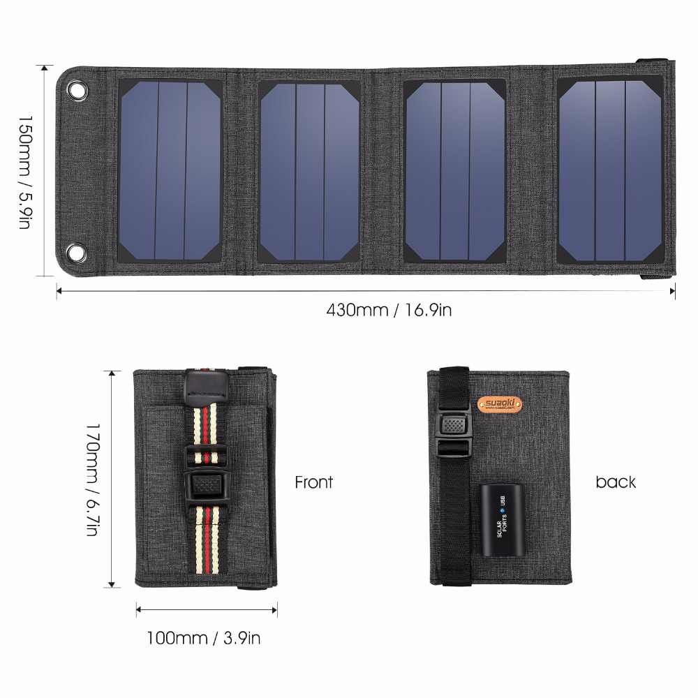 Suaoki Sun Energy Portable 7W Folding Foldable Solar Panel Charger 5V 1A USB Output Mobile Power Bank For Phone Outdoor Charging