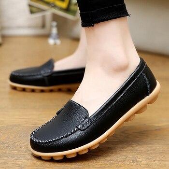 정품 가죽 신발 여성 소프트 보트 신발 여성 플랫 신발 큰 크기 35-44 숙 녀로 퍼 비 슬립 튼튼한 단독