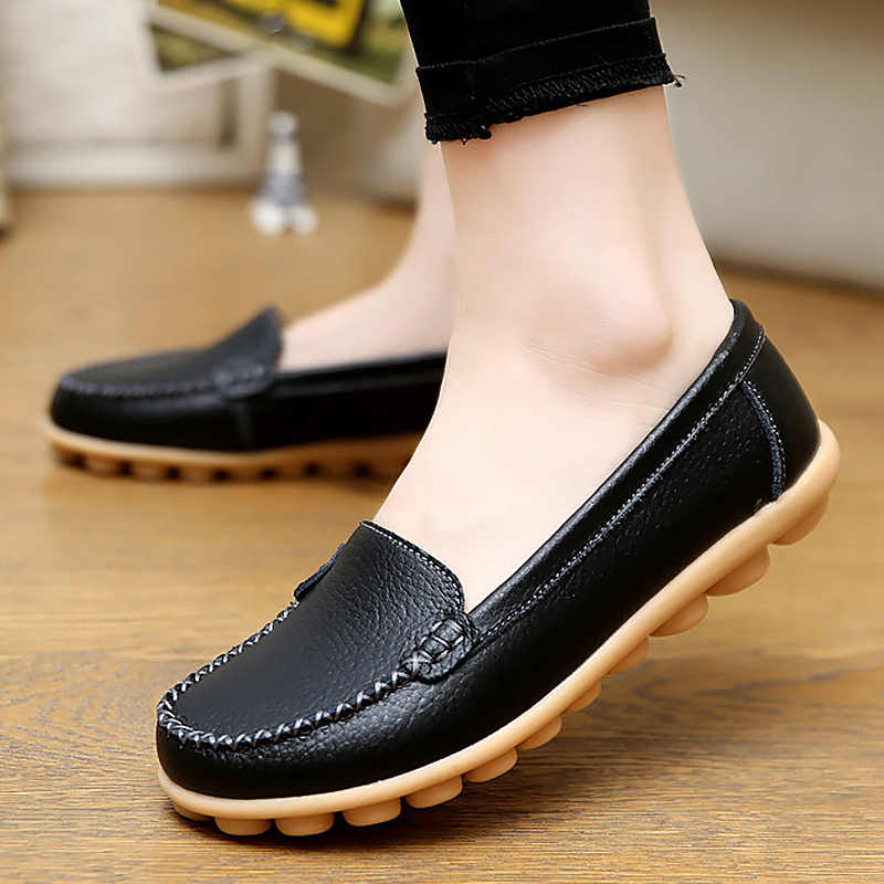 Genuine Leather Shoes Woman Soft Boat