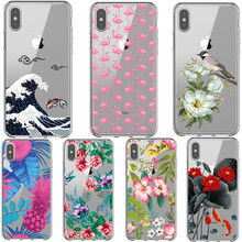 Flower Leaf Print Phone Case For iPhone XS MAX XR Cactus Summer tropical Flamingo Soft TPU Case For iPhone 7 8 6 6sPlus 5 5S SE