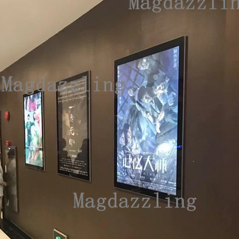 27 x40 home theater magnetic aluminum led movie poster frame slim wall mounted led movie poster. Black Bedroom Furniture Sets. Home Design Ideas