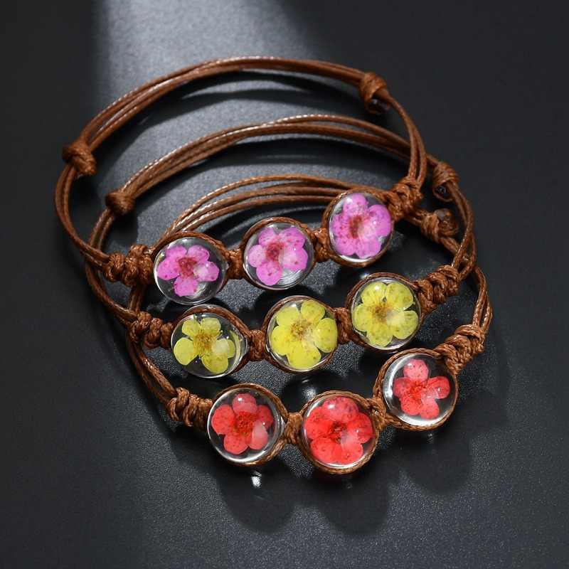 Phong Cách mùa hè Glass Ball Dệt Bracelet Weave Hoa May Mắn Vòng Tay Handmade Hoa Khô Glass Beads Phụ Nữ Đeo Trang Sức