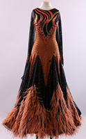 standard dance dress ballroom dancewer competition ballroom gowns with feathers