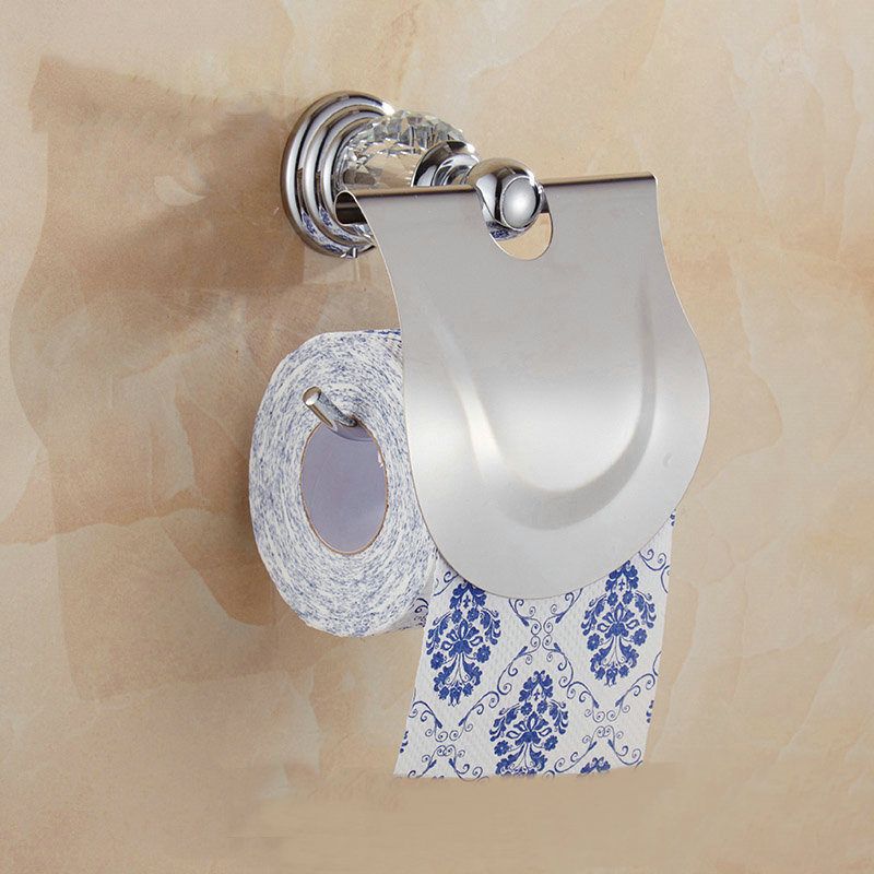 612C Series Chrome Polish Brass & Crystal Wall Mounted Bathroom Handware Towel Rack Hook Paper Holder Soap Dish