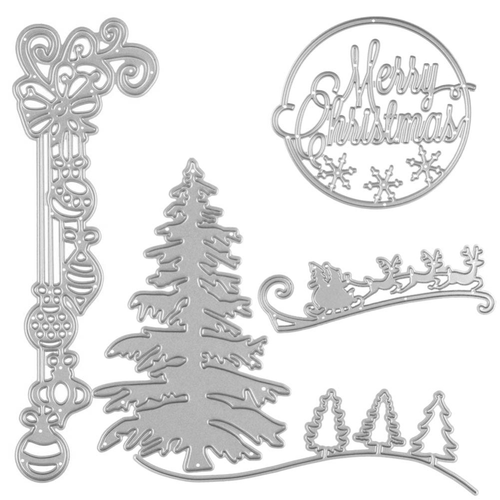 5Pcs/set Christmas Tree Border Sled Metal Cutting Dies