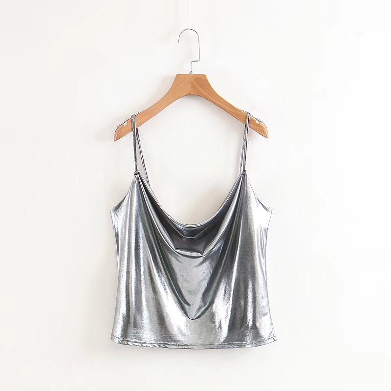 1e3da7fe57e US $12.9 |Sexy Glossy Silver Camisole Cami Top Women Shiny Crop Tank Top  Summer Party Strap Top Club Beach wear-in Camis from Women's Clothing on ...