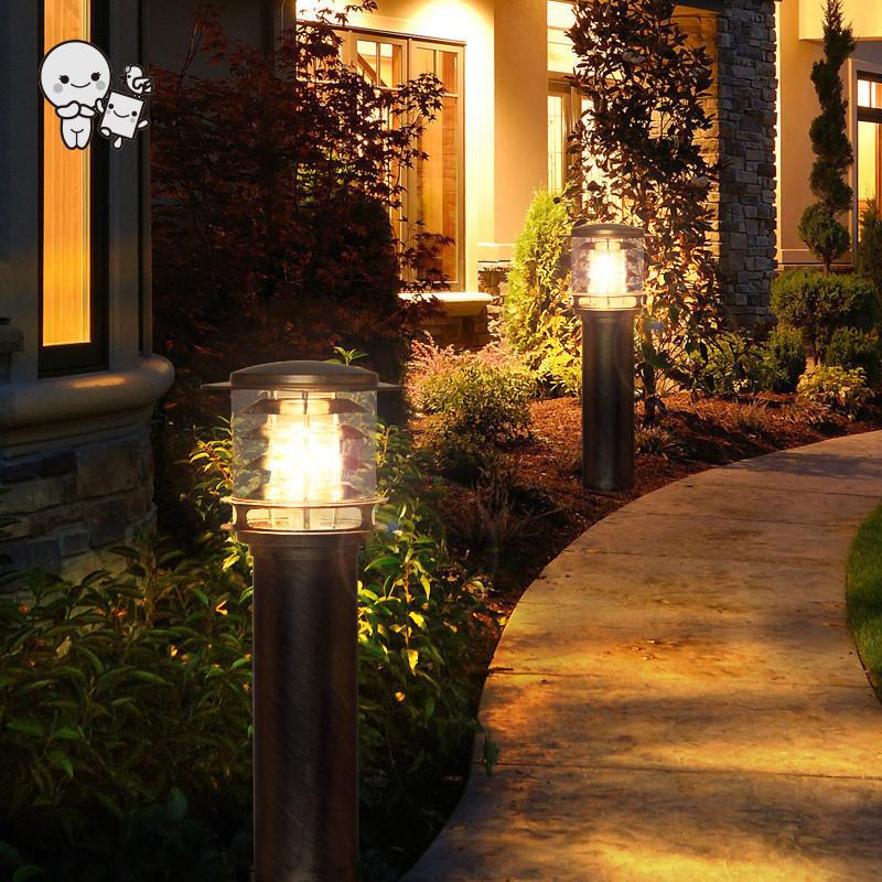 Outdoor Black Copper Aluminum Acrylic Lampshade Lawn Lamp Fixture Waterproof Modern Minimalist Ground Stand Light E27 LED Bulb