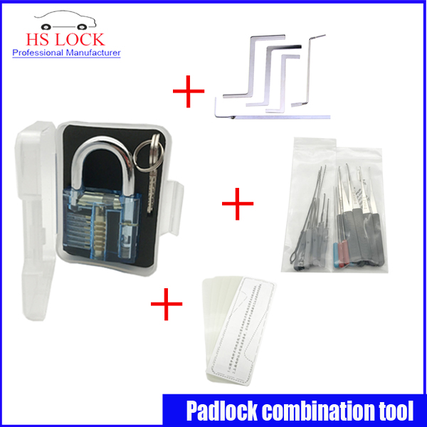 Hot sale practice lock set with professional Broken Key Extractor Set Locksmith Tool Key Removal Hooks kit 5 pcs tension tools hakkadeal broken key removal practice padlock set