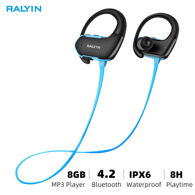 Ralyin المحمولة لبس MP3 مشغل موسيقى 8 جيجابايت سماعات لاعب مشغل mp3 سماعة سماعات رياضة mp3 مقاوم للماء ل شاومي