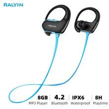 Ralyin สวมใส่แบบพกพา MP3 เครื่องเล่นเพลง 8GB หูฟังเครื่องเล่น mp3 player ชุดหูฟังหูฟัง MP3 กันน้ำสำหรับ Xiaomi