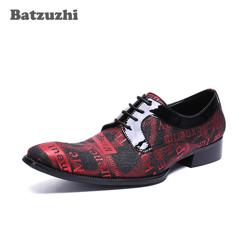 Batzuzhi 2018 New Handmade Men Shoes Red Genuine Leather Business Dress Shoes Lace-up Italian Pop Men Wedding and Party Shoes,46