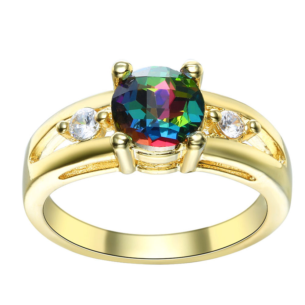 Gold Color Rainbow Crystal Rings For Women Wedding Gift