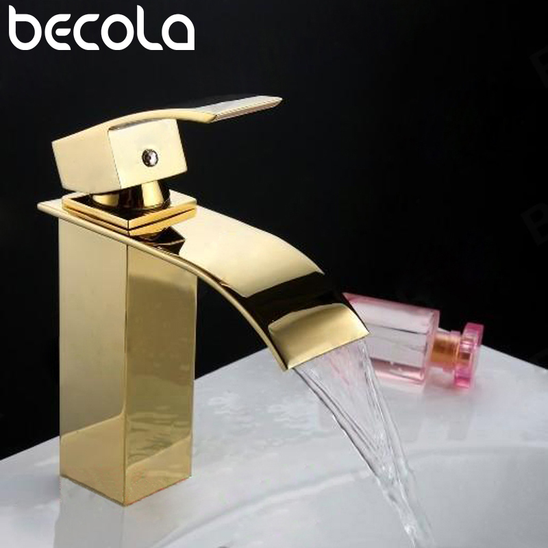 Free shipping becola gold waterfall tap Bathroom Mixer Single handle Single hole deck mounted cold and hot basin faucet LT-503A becola basin faucet luxury bathroom golden mixer single handle single hole deck mounted waterfall tap lt 509 free shipping