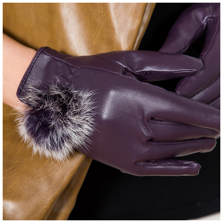 Women s Fashion PU Leather Cashmere 3 Colors Warm Winter Gloves Elegant Beauty Gifts Purple