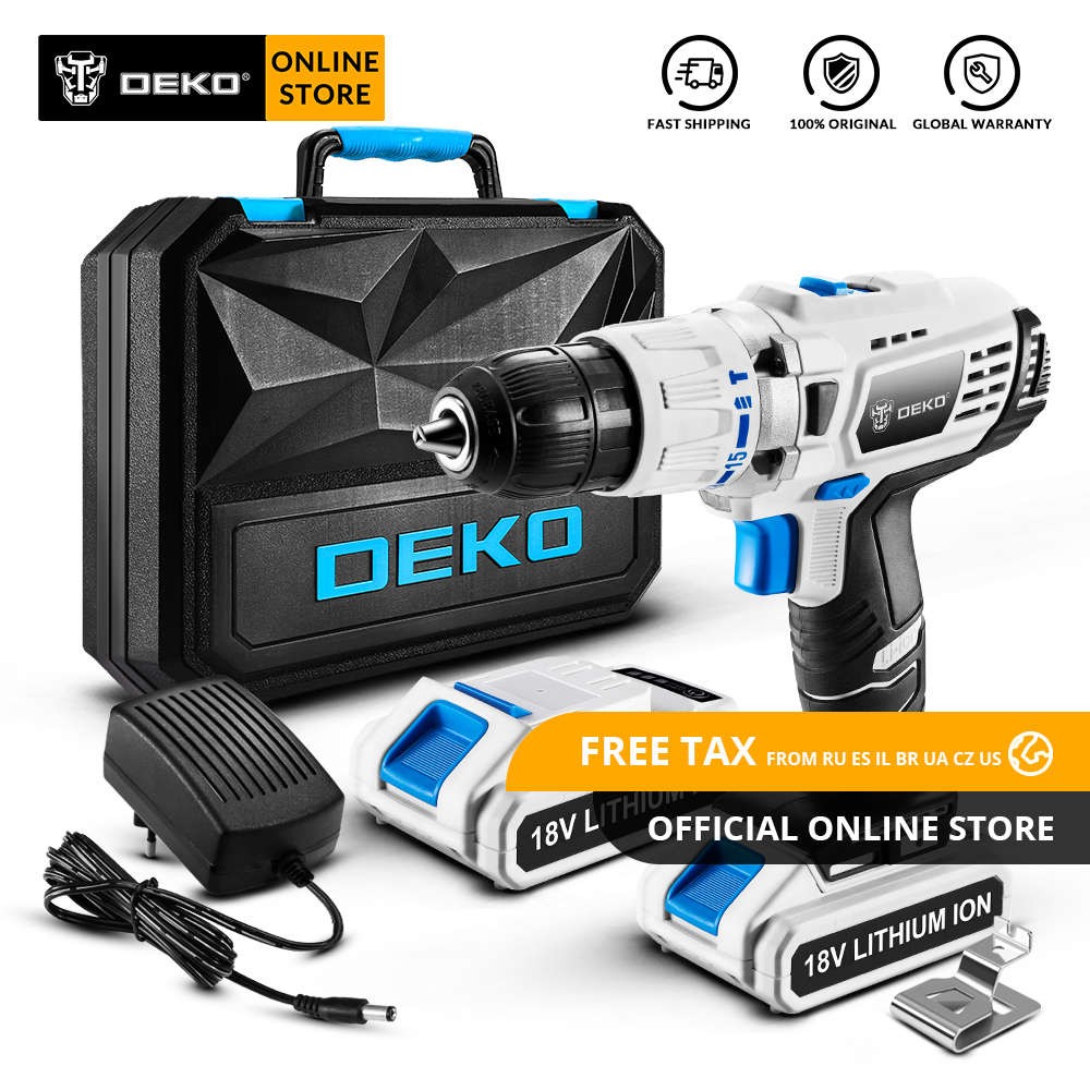 Original DEKO GCD18DU3 18V Impact Cordless Drill Electric Screwdriver Lithium Ion Mini Power Driver Variable Speed LED Light|Electric Drills| |  - title=