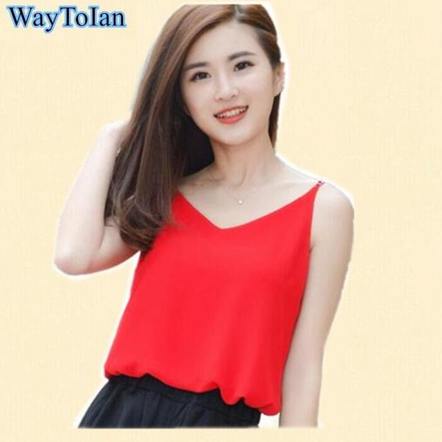 9d1883ee5e Chiffon Tank Top Women Summer Sleeveless Shirt Sexy V-neck Camis Loose  Casual Female Crop Tops Plus Size Vest Ladies Clothing