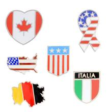 NTTHNCF American Italy Canada Flags Enamel Brooch Denim coat Pin Shirt Patriotism Lapel Pins Badges Christmas Gifts for Friend(China)