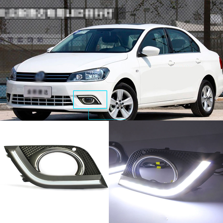 Brand New Updated LED Daytime Running Lights DRL With Black Foglights Cover For VW Jetta 2013 brand new updated led daytime running lights drl with black foglights cover for mazda 3 axela 2013 14