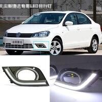 Ownsun Фирменная Новинка обновляется LED Габаритные огни DRL с черным противотуманки покрытия для VW Jetta 2013