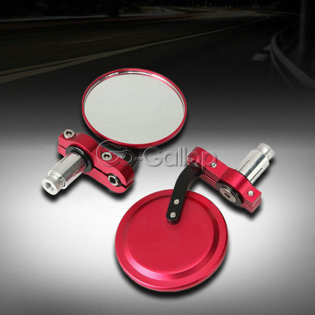 UNIVERSAL FOR 7 8 CAFE RACER CLUBMAN HANDLEBARS BAR END MIRRORS RED PAIR For