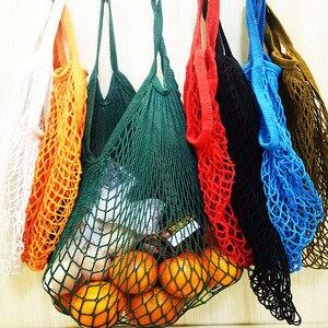New Mesh Bag String Shopping Bag Reusable Fruit Storage Handbag Totes Women Shopping Net Bag Shopper Bag Cotton Woven(China)
