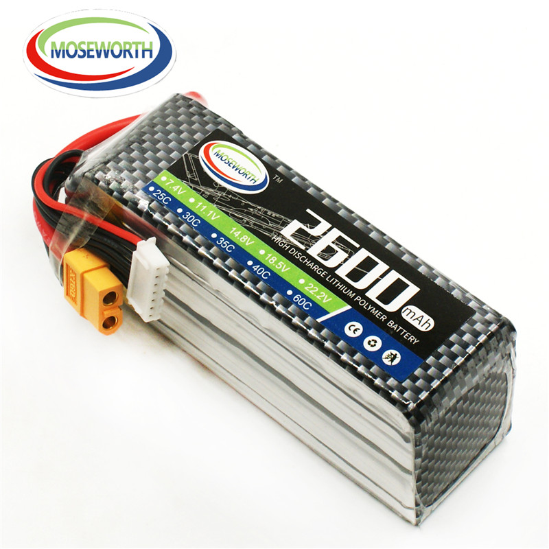 MOSEWORTH 6S 22.2V 2600mah 40C-80C RC Airplane Lipo battery for RC Helicopter Quadrotor Car boat Li-ion batteria
