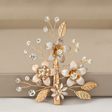 Flower Hair Comb Wedding Accessories Glod Leaf White Crystal Flowers Bridal Hair Clips Wedding Comb For Women Elegant Cute 2019