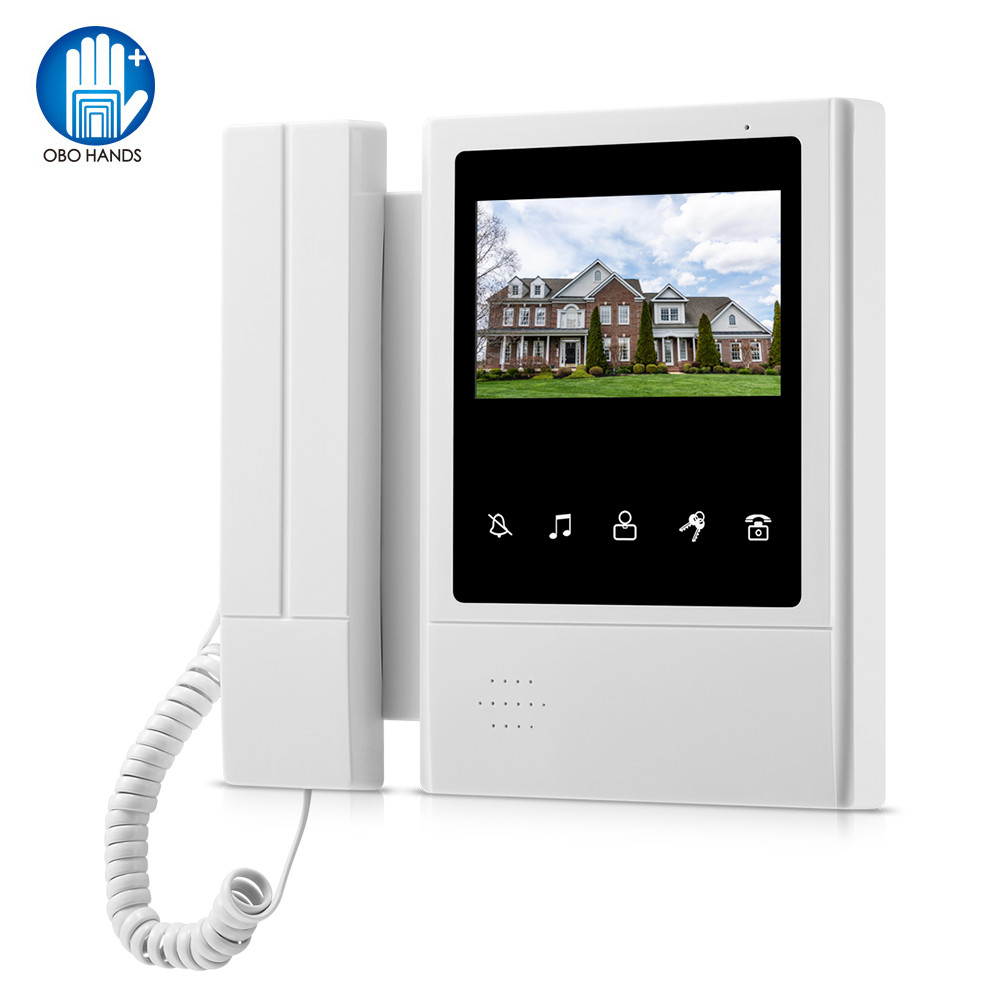 OBO 4.3inch TFT-LCD Wired Color Video Intercom System Kit Video Door Phone Indoor Monitor Screen Doorphone Doorbell For Home