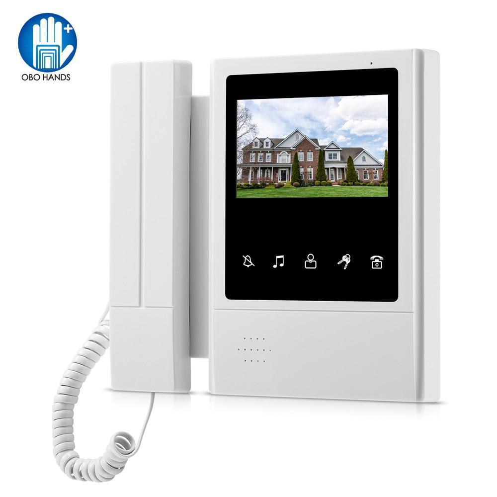 OBO 4.3inch TFT-LCD Wired Color Video Intercom System Kit Video Door Phone Indoor Monitor Screen Doorphone Doorbell For Home