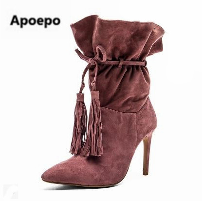 Apoepo brand boots women Solid Pumps Thin Heels High Heels Boots women Lace-Up ankle Boots shoes Fringe Winter Women Shoes 2018 apoepo brand shoes punk style rivet ankle boots for women lace up high heels shoes women boots sexy platform shoes with heels