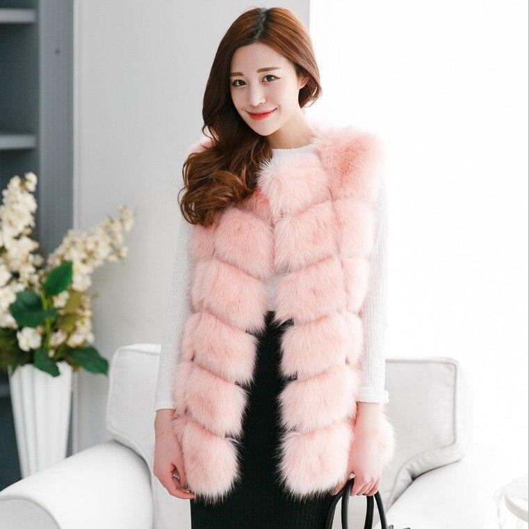 Новое поступление, зимний теплый модный длинный женский жилет из искусственного меха, пальто из искусственного меха, жилет из лисьего меха, женский жилет, большие размеры, S-4XL - Цвет: pink