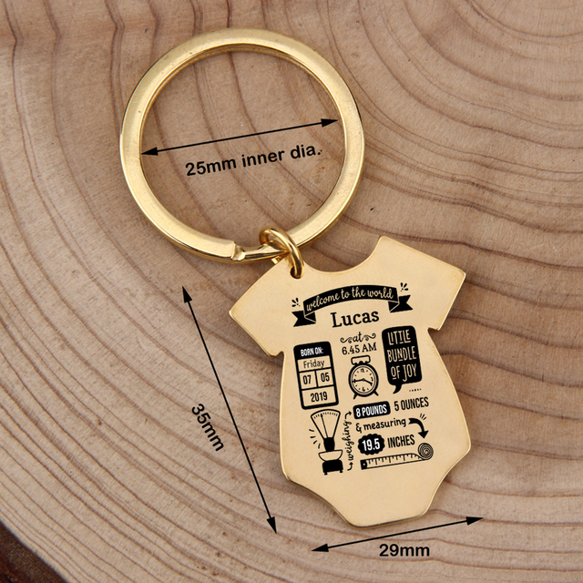 Gift Key Chain New Born Baby Souvenir Jewelry Baby Siamese shape First Mother's Father's day Gift Couple Anniversary Charm 4