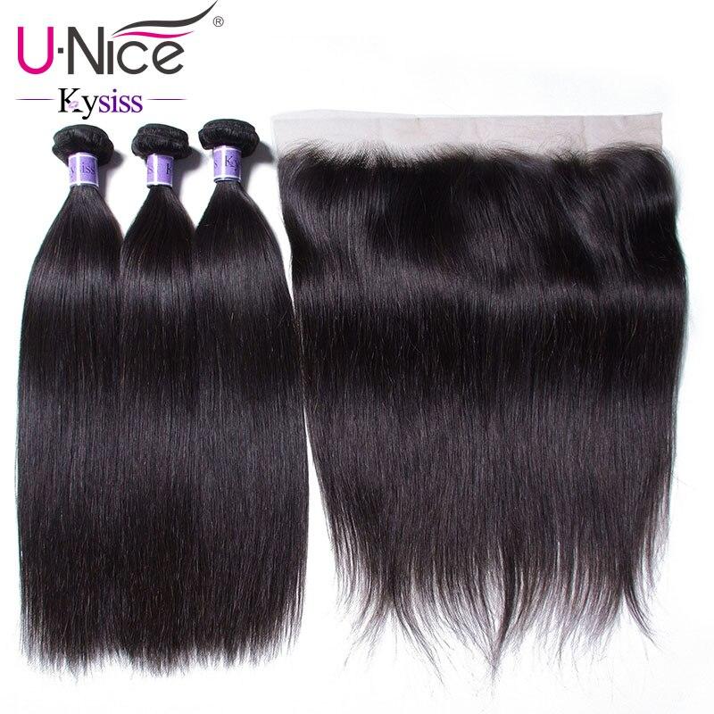 UNice Hair 8A Kysiss Series Peruvian Straight Hair Lace Frontal Closure With Bundles 4PCS Human Vrigin