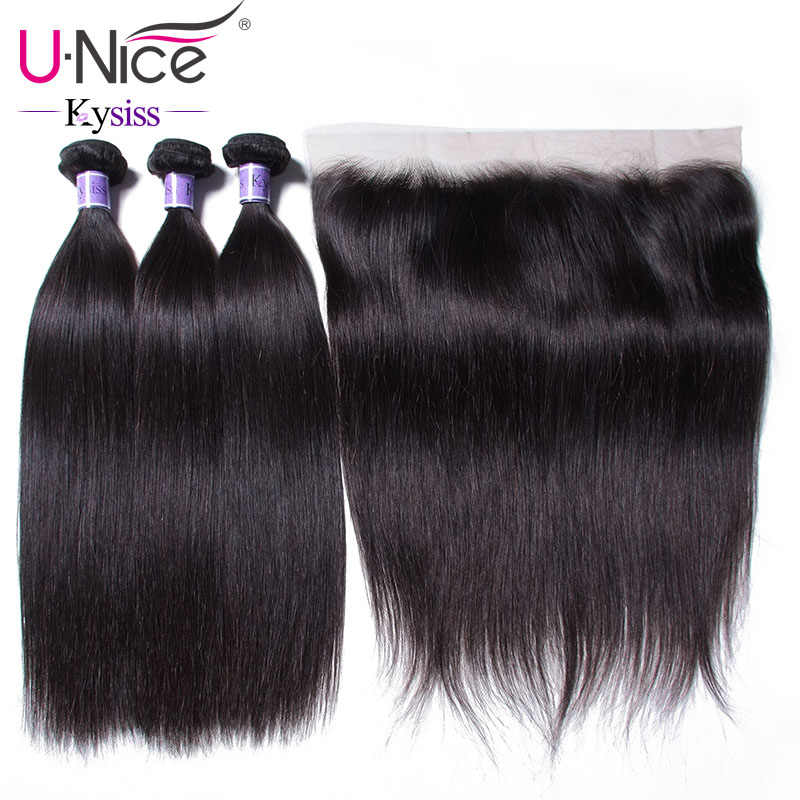 UNice Hair 8A Kysiss Series Peruvian Straight Hair Lace Frontal Closure With Bundles 4PCS Human Vrigin Hair Bundle With Closure