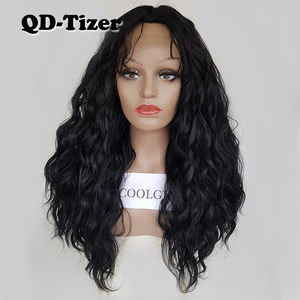 Image 1 - QD Tizer Loose Wave Black Color Wigs Baby Hair Glueless Synthetic Lace Front Wig High Density Hair Wig for Black Women