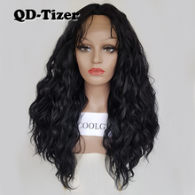 QD Tizer onda suelta Color negro pelucas de pelo de bebé sin pegamento sintético peluca con malla frontal de alta densidad Peluca de pelo para las mujeres negras