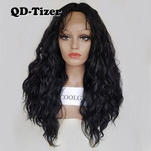Image 1 - QD Tizer فضفاض موجة اللون الأسود الباروكات شعر الطفل غلويليس الاصطناعية الدانتيل شعر مستعار أمامي عالية الكثافة الشعر لمة لأسود النساء